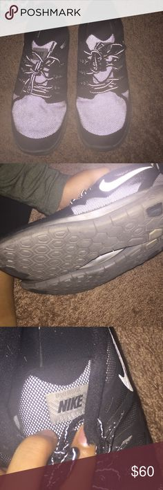 Nike free runs 5.0 only worn a couple of times Grey and black Nike Shoes Athletic Shoes