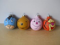 Winnie the Pooh hand painted ornaments Disney Christmas Ornaments, Xmas Ornaments, Handmade Christmas, Christmas Holidays, Christmas Decorations, Christmas Balls, Deco Disney, Disney Diy, Disney Crafts
