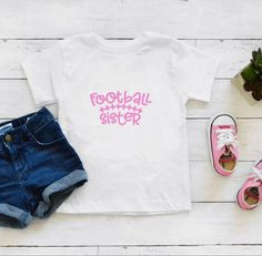 Football Sister / Football Bro Baby Bodysuit or Kids T-Shirt. This is a perfect gift and great for football season. *Bodysuits are Carter's brand. Please see their sizing chart if you aren't sure what size to order. *All bodysuits are white. The color you choose is for the text/image. *If you would Football Sister, Football Season, Baby Bodysuit, Bro, Baby Kids, Kids Outfits, Infant, Sisters, T Shirt