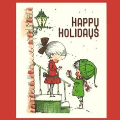 RETRO HOLIDAY CARD & Magnet Set  - Vintage Children's Book Illustration
