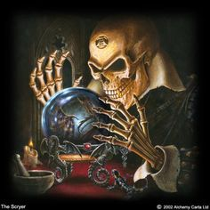 I like this creepy Halloween picture of a skeleton gazing into a crystal ball. The skull somehow looks like it has an evil grin as it l. Creepy Halloween, Halloween Skeletons, Dark Gothic, Gothic Art, Arte Horror, Horror Art, Dark Fantasy Art, Dark Art, Tarot