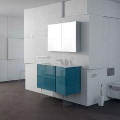 mobilier plan vasque bleu pour salle de bain ralis en fibres de bois laqu - Une Salle De Bain Est Equipee Dune Vasque