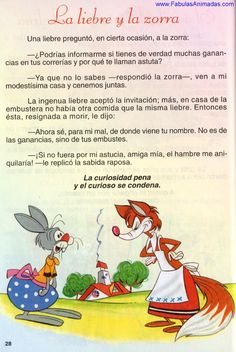 La Liebre y La Zorra Elementary Education, Conte, Learning Spanish, Short Stories, Activities For Kids, Thankful, How To Plan, Books, Celine