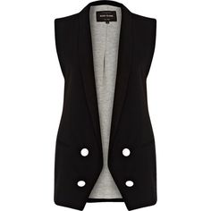River Island Black longline double breasted waistcoat (£20) ❤ liked on Polyvore featuring outerwear, vests, vest, jackets, tops, sale, button vest, vest waistcoat, long line vest and double breasted waistcoat