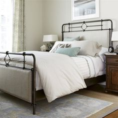 This simple metal bed frame goes perfectly with the pale neutrals of this bedroom, with slight rustic touches to add interest. You can get this bedroom set during the Paula Deen Memorial Day Sale at Woodchucks! Panel Bed, Universal Furniture, Metal Beds, Furniture, Upholstered Panel Bed, Bed Sizes, Bed Makeover, Upholstered Beds, Bedroom Furniture