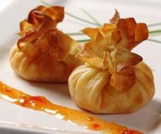 Sweet Chilli, Mango and Ginger Filo Parcels - Long Clawson Dairy Best Appetizers, Appetizer Recipes, Cheese Recipes, Veggie Recipes, Thanksgiving Recipes, Holiday Recipes, Grilled Cheese Rolls, Filo Parcels, Vegan Recipes Healthy Clean Eating