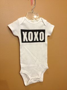 One of a Kind Painted Onesie with XOXO Size 9 Months by bugarooboutique, $17.50