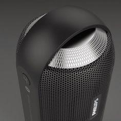 Philips BT6000 Bluetooth speaker rendering highlighting the details. Specifically the aluminium volume wheel with knurling pattern. #audio #greymatterdesign #bluetooth #speaker #industrialdesign #productdesign #greymatterdesign #bluetoothspeaker #music #sound