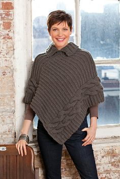 Cabled  Collared Poncho By Ann Regis - Free Knitted Pattern - (ravelry)
