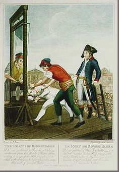 """The death of Robespierre: The executioners wear not the traditional hangman's hood but red bonnets representing liberty. This emphasized their belief that Robespierre's punishment was just because it was the same to which """"he had condemned so many thousands of innocent victims."""""""