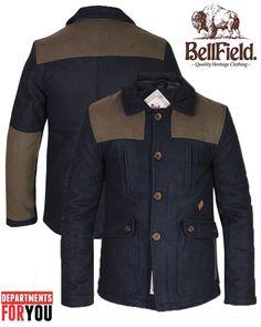 Bellfield Mens Designer Donkey Jacket Military Jacket Winter Warm Down Coat | eBay