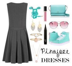 """Pinafore Dresses - Strawberry & Mint"" by jadelightbulb on Polyvore featuring George, Vans, Kate Spade, Minnie Rose, Revlon, Michael Kors and Accessorize"