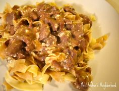 Crock Pot Beef Stroganoff  So easy and soo good definitely my favorite so far. I used reduced fat and sodium soup the second time around cause it seemed salty the first go round. It was much better.
