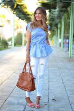 LIGHT BLUE PEPLUM BLOUSE 29-8-2014 #kissmylook Blusa / Blouse: Choies (New) Jeans: Stradivarius (A/W 13-14) Sandalias / Sandals: Zara (S/S 14)