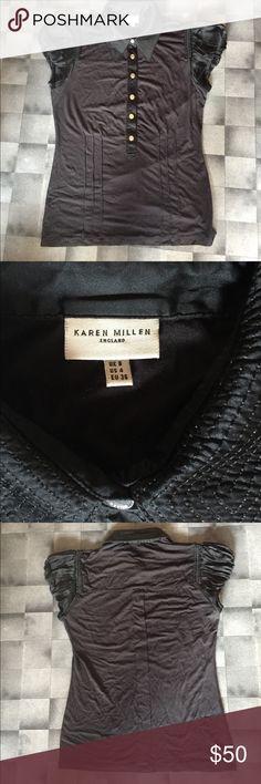 Karen Millen blouse, black with silk trimming Black Karen Millen blouse. Snap front, Sean down center back, 3 dart seams mid waist east side. Black with dark black silk trimming. Karen Millen Tops Blouses