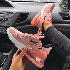 Nike Air Max 270 Women& Shoe in pink, black and white. One of the most popu. - - Nike Air Max 270 Women& Shoe in pink, black and white. One of the most popular Nike sneakers of Nike Air Max 270 Women& Shoe in pink, . Souliers Nike, Nike Air Shoes, Women Nike Shoes, Pink Nike Shoes, Nike Tennis Shoes, Nike Shoes Outfits, Ladies Shoes, Nike Shoes For Girls, Rose Gold Nike Shoes
