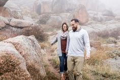 Fall outfit ideas for pictures | Casual outfit for engagements | Scarf and cardigan outfit for pictures | Engagement photo posing ideas | Fall engagement session in Vedauwoo in Medicine Bow National Forest near Cheyenne, Wyoming Couples Photography Session | Megan Lee Photography