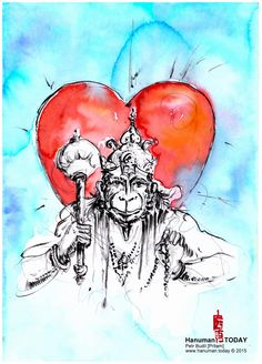 Monday, June 29, 2015 Daily drawings of Hanuman / Hanuman TODAY / Connecting with Hanuman through art / Artwork by Petr Budil [Pritam] www.hanuman.today