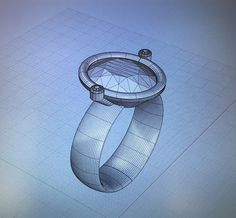 Ring designed in 3D software, rhino 5