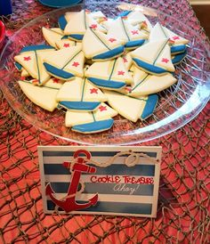 Sailboat cookies for nautical themed party