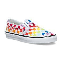 Vans Rainbow Classic Slip-On shoes. Padded collar and footbed. Rubber Vans Off The Wall heel badge. Cute Vans, Cute Shoes, Me Too Shoes, Awesome Shoes, Sneakers Mode, Best Sneakers, Sneakers Fashion, Sock Shoes, Vans Shoes