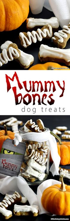 Mummy Bones Pumpkin Peanut Butter Dog Treats - The Cottage Market