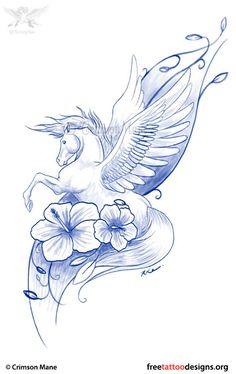 Winged horse tattoo design
