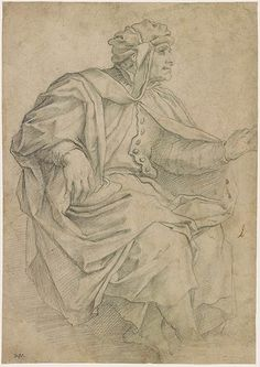 Giorgio Vasari | Man Seated in Profile to Right | Drawings Online | The Morgan Library & Museum