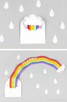 Don't rainbows always make you feel better? printable party invitations  http://www.mrprintables.com/printable-party-invitations-rainbow-surprise.html