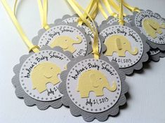 20 Yellow and Grey Elephant Personalized by PaperTrailbyLauraB