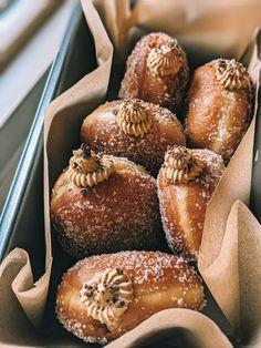 Donut Recipes, Baking Recipes, Dessert Recipes, Desserts, Brioche Doughnuts Recipe, Chocolate Brioche, Molten Lava Cakes, Homemade Donuts, Breakfast Items
