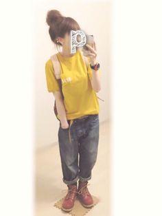 ぷ ぷ こ   ༘*さんのTシャツ/カットソー「MHL. ・PRINTED JERSEY」を使ったコーディネート