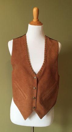 Vintage MONA MODE BROWN lined leather suede WHIP STITCH WESTERN Vest~SMALL #MonaModevintagevest