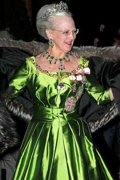 Margrethe of Denmark wearing the crown emeralds...yes ,its our beautiful Queen....:)