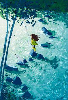 Le bleu et la transparence de l'eau sont incroyables!  #ToileduMardi #Art /  pascal campion // http://pascalcampion.blogspot.com/
