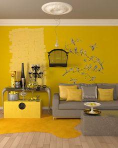 décoration de salon aux murs jaunes