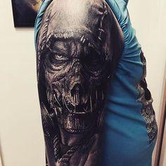 6e9ec44888 Hooded Zombie Skull Tattoo by Sandry Riffard  audeladureeltattoobysandry…  Scary Tattoos