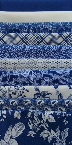 Gallery in Blue, Blue/White Half Yard Bundle (10) Marcus Fabrics