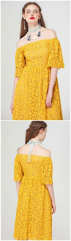 Stylish and Feminine, This Fall Yellow Lace Off-the-shoulder Dress is Perfect for Holidays, Party, And Different Occasion. Find This Dress in GemGrace, Enjoy Free Shipping Today.