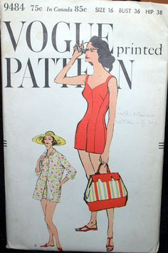 1950s 1958 VOGUE pattern BATHING SUIT sz 16 unused on Etsy, $44.95