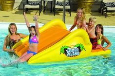 Slick Slider Island - an inflatable swimming pool slide