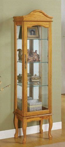 victorian tiger oak curved glass china cabinet on ball & claw feet