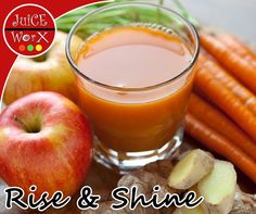 Kick start your morning with our real extraction juice such as our Rise & Shine, made from apples, carrots and ginger root! Get yours at #JuiceWorX! #TheSandwichShop #healthyliving
