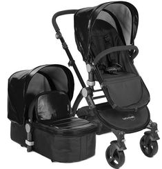 Babyroues Letour Lux II Bassinet and Stroller in Black Leatherette on a Black Frame