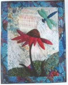 Wendy Butler Berns Artwork - dragonfly and coneflower applique quilt Embroidery Designs, Quilting Designs, Quilting Ideas, Art Quilting, Small Quilts, Mini Quilts, Machine Applique, Machine Quilting, Fabric Postcards