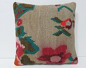 WARNING Red Color Ran floral decorative pillow rose throw pillow beige kilim pillow vintage decorations kilim cushion cover floral rug 23464