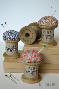 Pincushion Wooden Spool/Cotton Reel Pincushion by StitchGaloreThis is a beautiful handmade pincushion. Made using a vintage style wooden spool / cotton reel decorated with applique, free motion embroidery and wording. Wooden Spool Crafts, Wood Spool, Fabric Crafts, Sewing Crafts, Sewing Projects, Sewing Ideas, Craft Projects, Hobbies And Crafts, Diy And Crafts