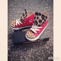 Spiked leopard converse toddlers & infant by TinyDivaz on Etsy, $75.00