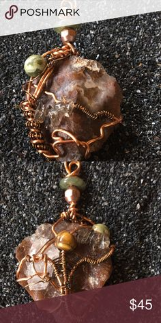 Pendants, Wire Wrap This is a rock I actually found when my van broke down on my road trip outside of Wendover, Nevada. I intricately Wire wrapped it with ryholite, smiley quartz, quartz, and I believe the rock itself is some kind of agate! If you look both sides of the wrap actually look like human figures hugging the stone. Enjoy! Jewelry Necklaces