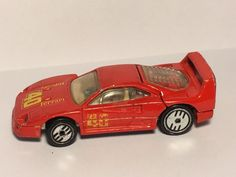 1988 Hot Wheels Ferrari F40, Red w/ Decals, Engine Hood Opens #HotWheels #Ferrari